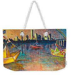 Trinity River Origami Weekender Tote Bag by Tanya Joiner Slate