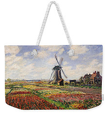 Tulip Fields With The Rijnsburg Windmill Weekender Tote Bag by Claude Monet