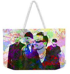 U2 Band Portrait Paint Splatters Pop Art Weekender Tote Bag by Design Turnpike