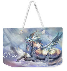 Unicorn Of Peace Card Weekender Tote Bag by Carol Cavalaris