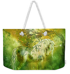 Unicorn Of The Forest  Weekender Tote Bag by Carol Cavalaris
