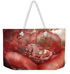Unicorn Of The Poppies Weekender Tote Bag by Carol Cavalaris