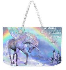 Unicorn Of The Rainbow Card Weekender Tote Bag by Carol Cavalaris