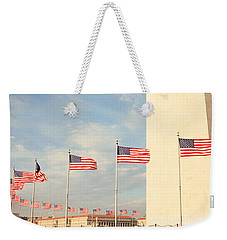 United States Flags At The Base Weekender Tote Bag by Panoramic Images