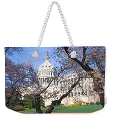 Us Capitol Building And Cherry Weekender Tote Bag by Panoramic Images