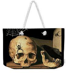 Vanitas Skull And Raven Weekender Tote Bag by Striped Stockings Studio