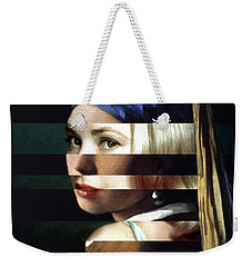 Vermeer's Girl With A Pearl Earring And Grace Kelly Weekender Tote Bag by Luigi Tarini
