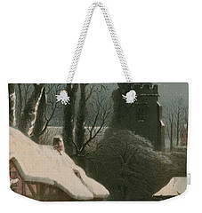 Victorian Christmas Scene With Band Playing In The Snow Weekender Tote Bag by John Brandard
