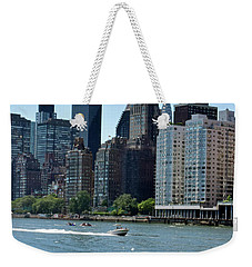 View Of Manhattan From Roosevelt Island Weekender Tote Bag by Sandy Taylor