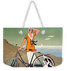 Vintage Bicycle Advertising Weekender Tote Bag by Mindy Sommers