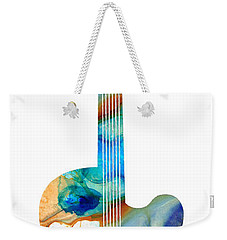 Vintage Guitar - Colorful Abstract Musical Instrument Weekender Tote Bag by Sharon Cummings