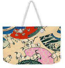 Vintage Japanese Illustration Of Fans And Cranes Weekender Tote Bag by Japanese School