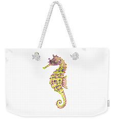 Violet Green Seahorse - Square Weekender Tote Bag by Amy Kirkpatrick