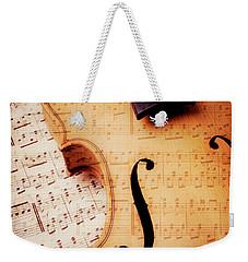 Violin And Musical Notes Weekender Tote Bag by Garry Gay