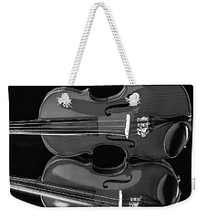 Violin Reflectiuon In Black And White Weekender Tote Bag by Garry Gay