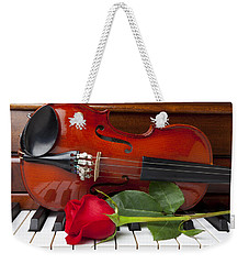 Violin With Rose On Piano Weekender Tote Bag by Garry Gay