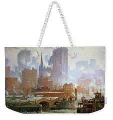 Wall Street Ferry Ship Weekender Tote Bag by Colin Campbell Cooper