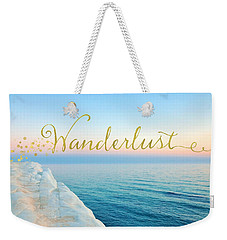 Wanderlust, Santorini Greece Ocean Coastal Sentiment Art Weekender Tote Bag by Tina Lavoie