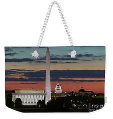 Washington Dc Landmarks At Sunrise I Weekender Tote Bag by Clarence Holmes