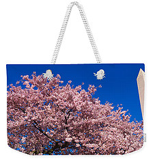 Washington Monument & Spring Cherry Weekender Tote Bag by Panoramic Images