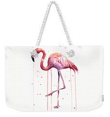 Watercolor Flamingo Weekender Tote Bag by Olga Shvartsur