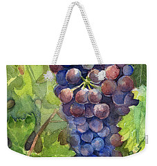 Watercolor Grapes Painting Weekender Tote Bag by Olga Shvartsur