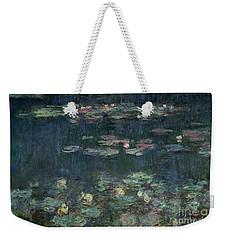 Waterlilies Green Reflections Weekender Tote Bag by Claude Monet