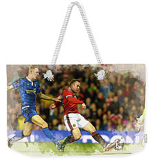 Wayne Rooney Of Manchester United Scores Weekender Tote Bag by Don Kuing