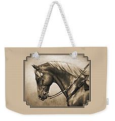Western Horse Painting In Sepia Weekender Tote Bag by Crista Forest