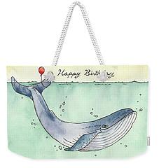 Whale Happy Birthday Card Weekender Tote Bag by Katrina Davis