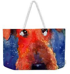 Whimsical Airedale Dog Painting Weekender Tote Bag by Svetlana Novikova
