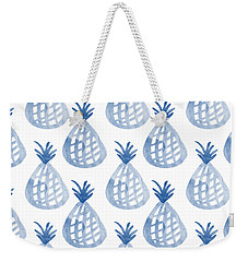 White And Blue Pineapple Party Weekender Tote Bag by Linda Woods
