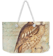 White Faced Owl Weekender Tote Bag by Mindy Sommers