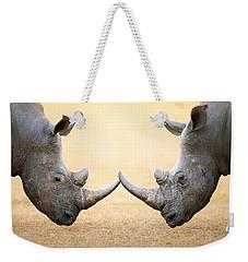 White Rhinoceros  Head To Head Weekender Tote Bag by Johan Swanepoel