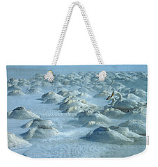 Whooper Swans In Snow Weekender Tote Bag by Teiji Saga and Photo Researchers