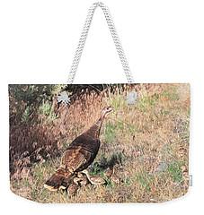 Wild Turkey Hen With Chicks Weekender Tote Bag by Donna Kennedy