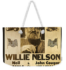 Willie Nelson Neil Young 1985 Farm Aid Poster Weekender Tote Bag by John Stephens