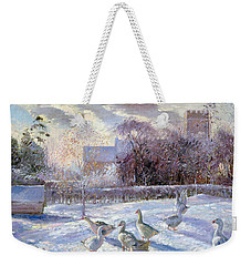 Winter Geese In Church Meadow Weekender Tote Bag by Timothy Easton
