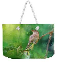 Wren In The Garden Bird Art Weekender Tote Bag by Jai Johnson