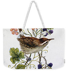 Wren On A Spray Of Berries Weekender Tote Bag by Nell Hill