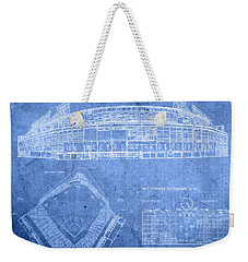 Wrigley Field Chicago Illinois Baseball Stadium Blueprints Weekender Tote Bag by Design Turnpike