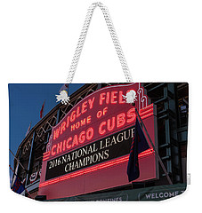 Wrigley Field Marquee Cubs National League Champs 2016 Weekender Tote Bag by Steve Gadomski