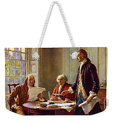 Writing The Declaration Of Independence, 1776, Weekender Tote Bag by Leon Gerome Ferris