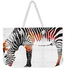 Zebra Black White And Red Orange By Sharon Cummings  Weekender Tote Bag by Sharon Cummings
