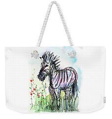 Zebra Painting Watercolor Sketch Weekender Tote Bag by Olga Shvartsur