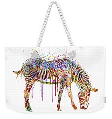Zebra Watercolor Painting Weekender Tote Bag by Marian Voicu