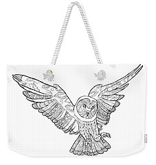 Zentangle Owl In Flight Weekender Tote Bag by Cindy Elsharouni