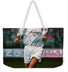 Zidane At Real Madrid Painting Weekender Tote Bag by Paul Meijering