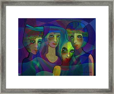 027 - Sisters  Blue   Framed Print by Irmgard Schoendorf Welch
