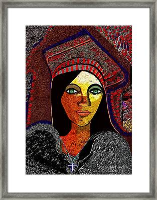 030 - Woman With   Cross   Framed Print by Irmgard Schoendorf Welch
